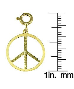 14K White Gold 3-D Peace Symbol Charm