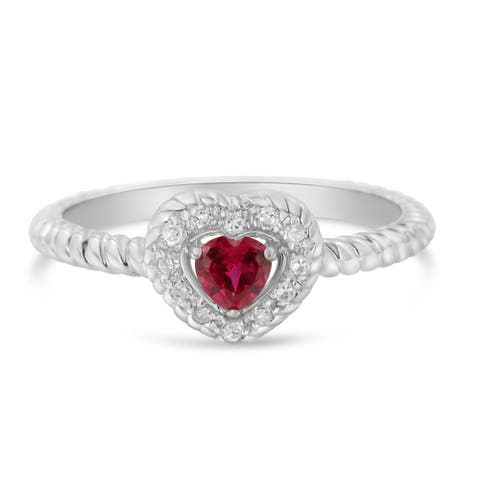 Sterling Silver 4MM Lab Created Ruby Heart and Diamond Accent Heart Ring (I-J,I2-I3)