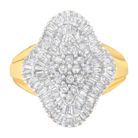 10K Yellow Gold 1ct. TDW Diamond Cluster Ring (I-J,I1-I2)