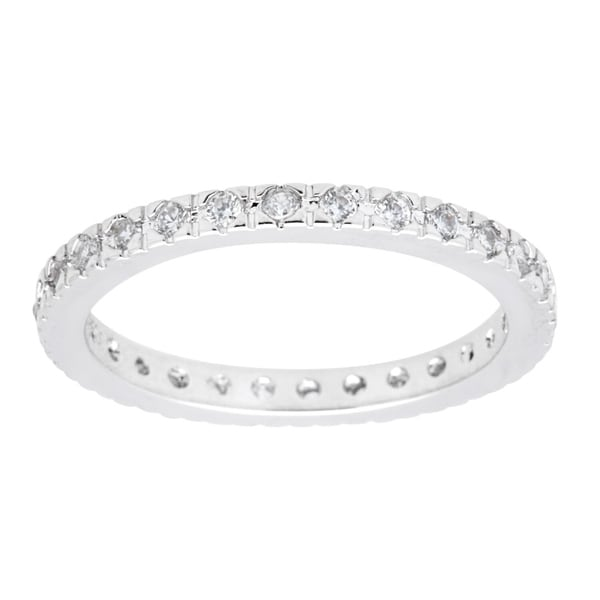 Silver Cubic Zirconia Eternity Band (Stack-able) by Simon Frank Designs. Opens flyout.