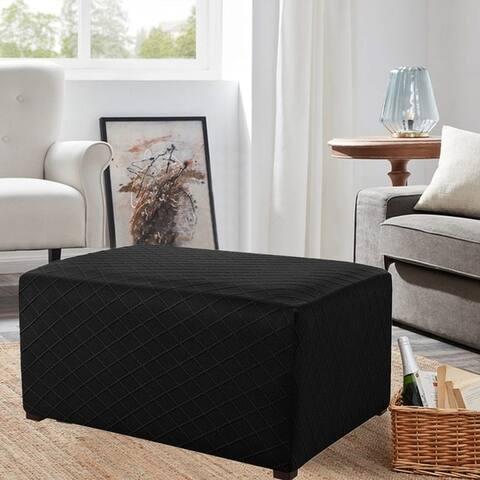 Enova Ultra Soft Rhombus Jacquard Polyester Stretch Fabric Oversized Ottoman Slipcover