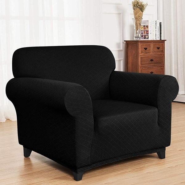 Enova Home Ultra Soft Rhombus Jacquard Polyester Spandex Fabric Box Cushion Armchair Slipcover - N/A. Opens flyout.