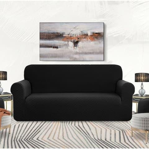 Enova Home Ultra Soft Rhombus Jacquard Polyester Spandex Fabric Box Cushion Loveseat Slipcover - N/A