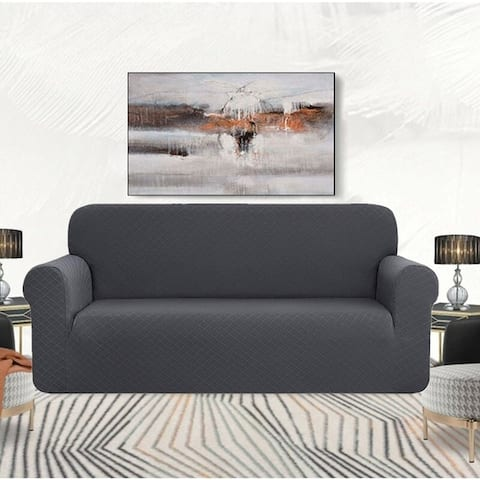 Enova Home Ultra Soft Rhombus Jacquard Polyester Spandex Fabric Box Cushion Loveseat Slipcover