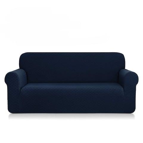 Enova Home Ultra Soft Rhombus Jacquard Polyester Spandex Fabric Box Cushion Sofa Slipcover