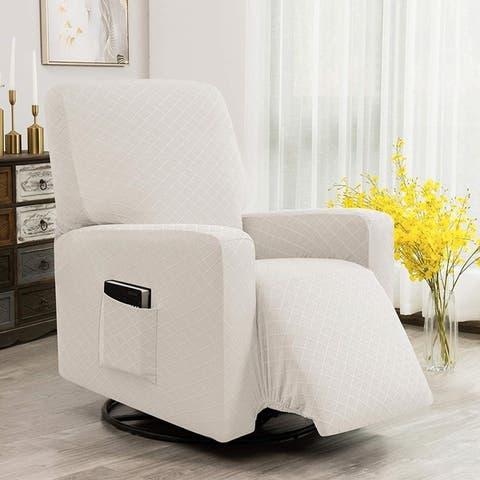 Enova Home Ultra Soft Rhombus Stretch Fabric Recliner Slipcover with Elastic Bottom Side Pocket
