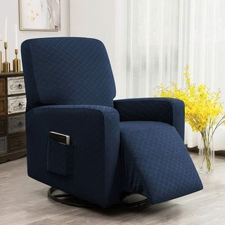 Enova Home Ultra Soft Rhombus Stretch Fabric Recliner Slipcover with Elastic Bottom Side Pocket