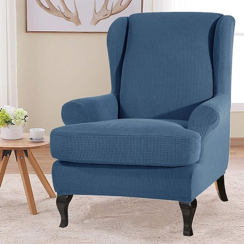 Enova Home Super Stretch Jacquard Spandex Fabric 2 Pieces Wingchair Slipcover - N/A