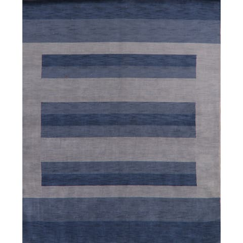 "Contemporary Blue Gabbeh Oriental Home Decor Area Rug Hand-Knotted - 8'1"" x 9'10"""