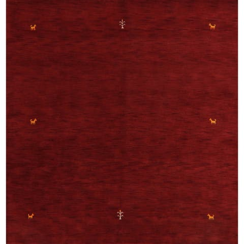 "Stunning Decorative Tribal Red Gabbeh Oriental Area Rug Handmade - 8'0"" x 8'4"" Square"