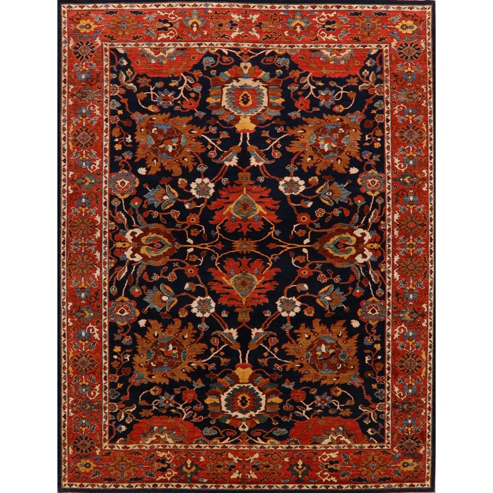 Overstocklarge Floral Sultanabad Ziegler Oriental Area Rug Hand Knotted Carpet 10 4 X 13 8 10 4 X 13 8 Navy Blue Rust Dailymail