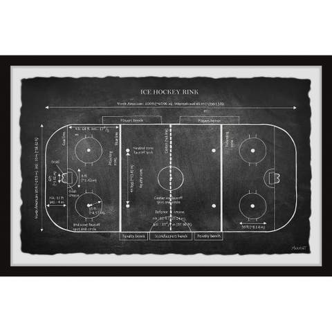 'Ice Hockey Rink Blueprint II' Framed Painting Print