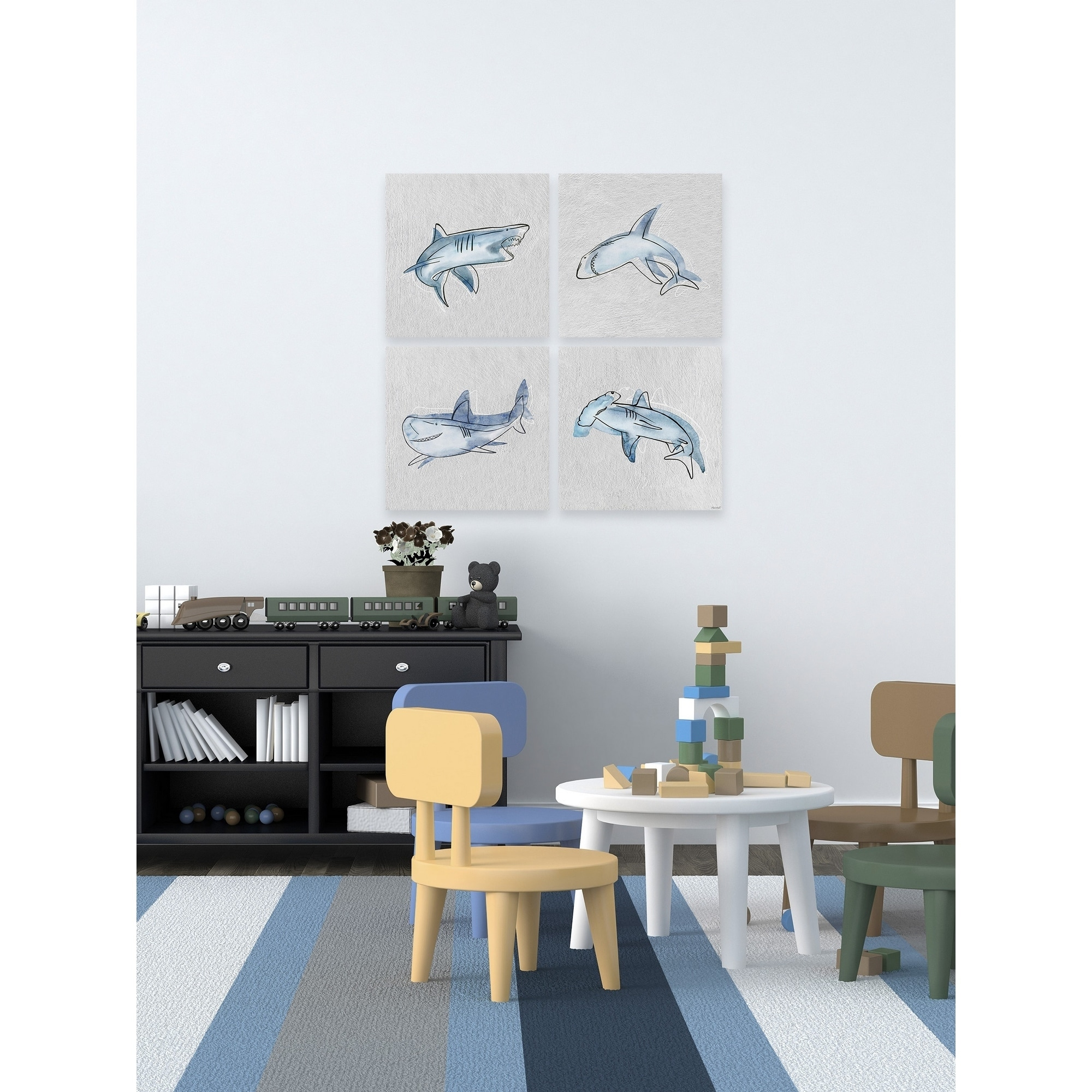 Moving Sharks Quadriptych Overstock 30802647