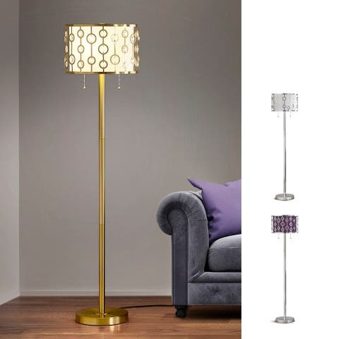 """GLIMMER 2-light Metal and Crystal Floor Lamp - 61""""H"""
