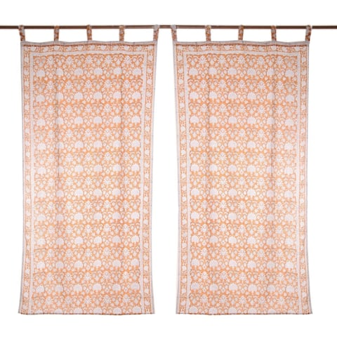 Handmade Earthy Blossoms Block-Printed Cotton Curtains, Set of 2 (India)