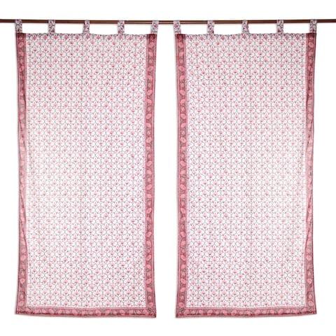 Handmade Jaipur Blossoms Block-Printed Cotton Curtains, Set of 2 (India)
