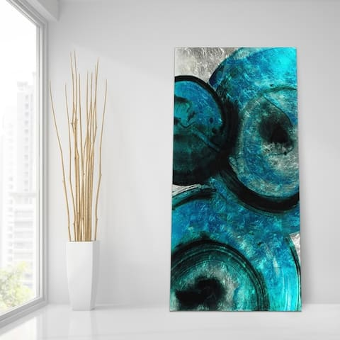 Ripple Effect Abstract Wall Art Print on Tempered Glass & Silver Leaf