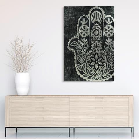 """Night Hamsa II"" Wall Art Reverse Printed Tempered Glass & Silver Leaf"