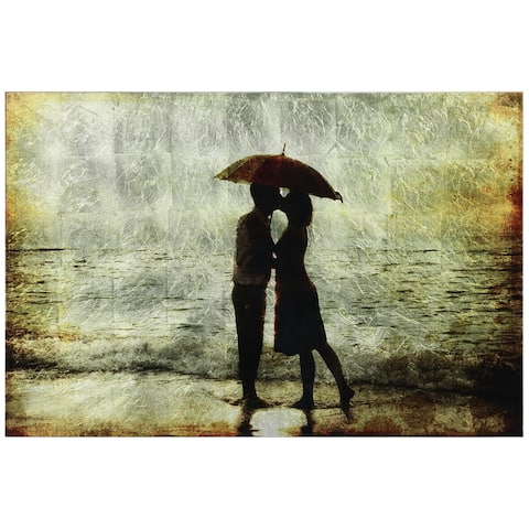 Goodby Kiss Couple Wall Art Printed on Tempered Glass & Silver Leaf