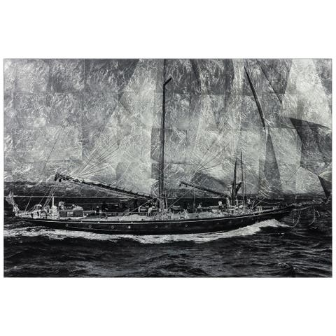"""World Regata"" Sailboat Wall Art Print Tempered Glass & Silver Leaf"