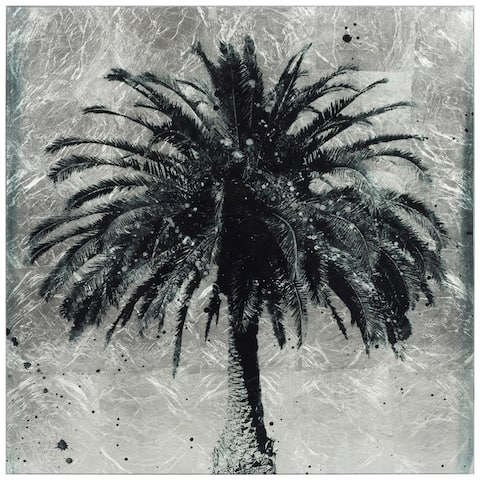 Palm Tree Wall Art Reverse Print on Tempered Glass & Silver Leaf