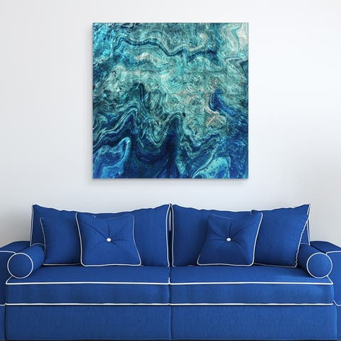 Indigo Abstract Wall Art Printed on Tempered Glass & Silver Leaf