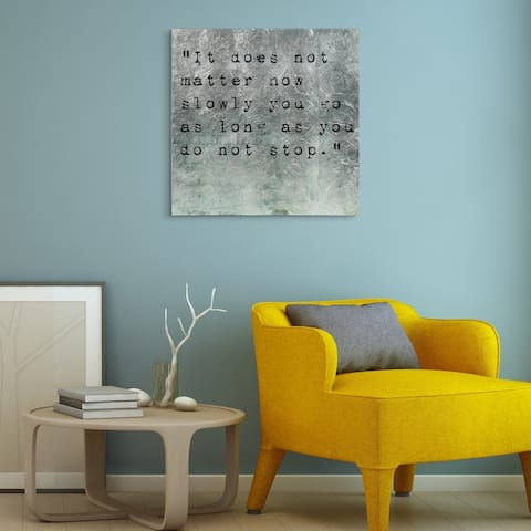 """""""Don't Stop"""" Quotes Wall Art Print on Tempered Glass & Silver Leaf"""