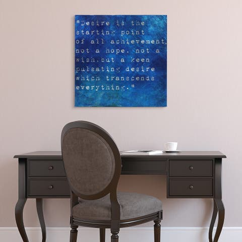 """""""Desire"""" Words & Quotes Wall Art Print on Tempered Glass & Silver Leaf"""