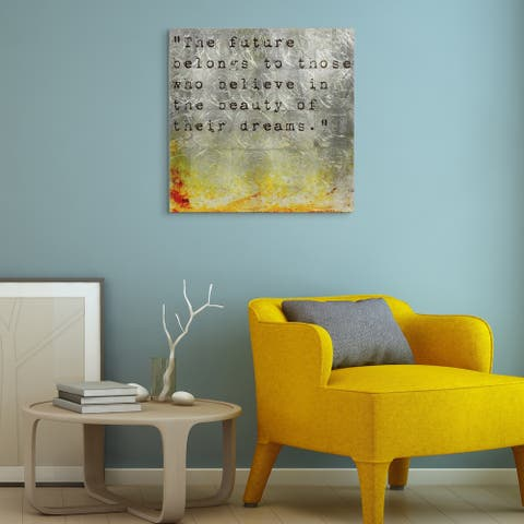 """Future"" Words & Quotes Wall Art Print on Tempered Glass & Silver Leaf"