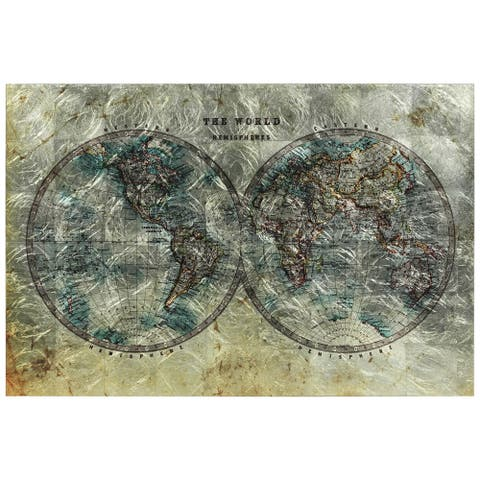 Cartography World Map Wall Art Printed on Tempered Glass & Silver Leaf
