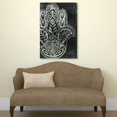 """Night Hamsa I"" Wall Art Reverse Printed Tempered Glass & Silver Leaf"