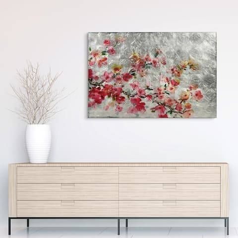 Cherry Blossom Wall Art Reverse Print on Tempered Glass & Silver Leaf