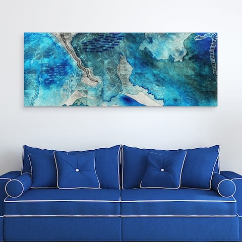 Subtle Blues A Abstract Wall Art Printed Tempered Glass & Silver Leaf