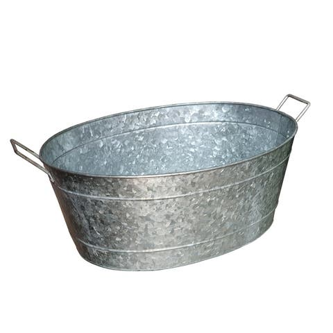 Oval Shape Galvanized Steel Tub with Side Handles and Embossed Design, Silver