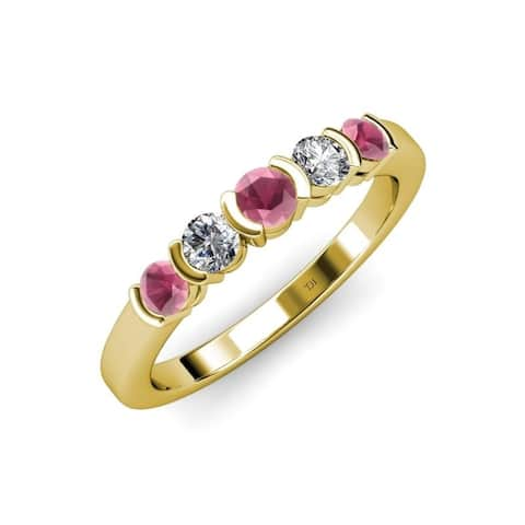 Trijewels Rhodolite Garnet Diamond 3/4 ctw Wedding Band 14KY Gold