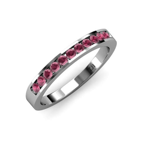 TriJewels Rhodolite Garnet 1/4 ctw 11 Stone Wedding Band 18KW Gold