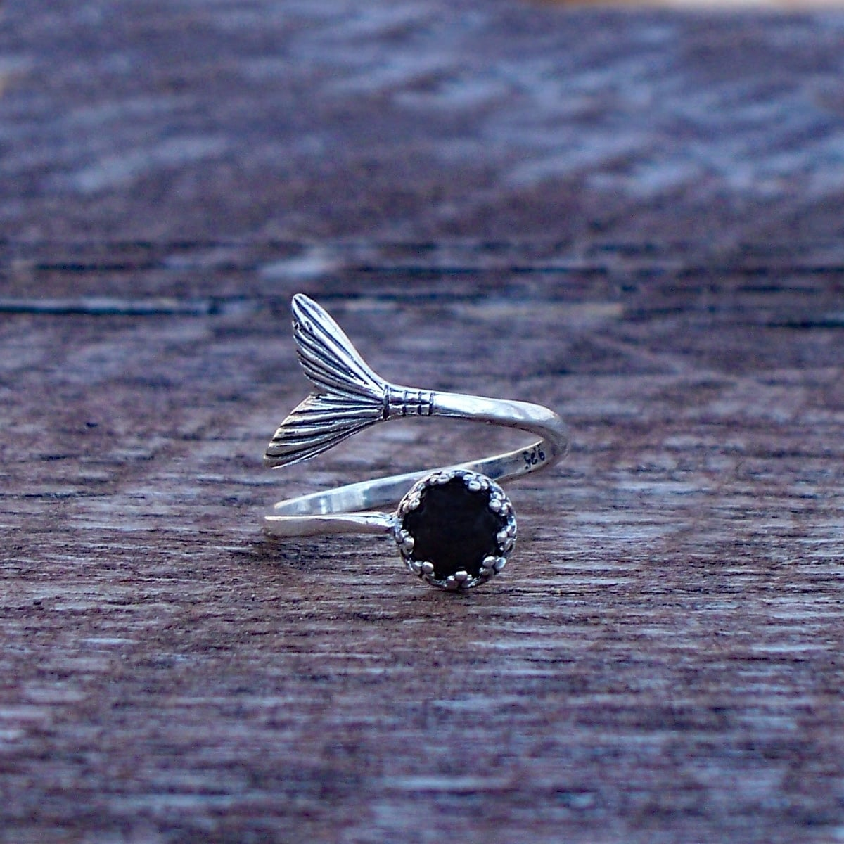 Recycled Antique Black Depression Glass Mermaid Ring in Sterling Silver