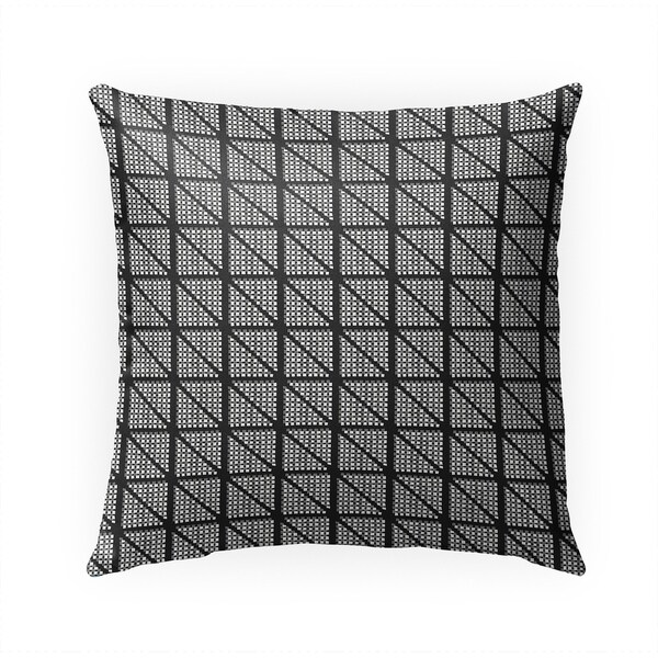 CHECK GEOMETRIC BLOCK PRINT BW Indoor|Outdoor Pillow By Becky Bailey - 18X18