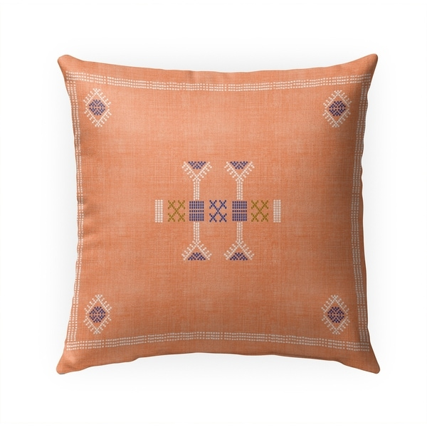 MOROCCAN KILIM ORANGE Indoor|Outdoor Pillow By Becky Bailey - 18X18