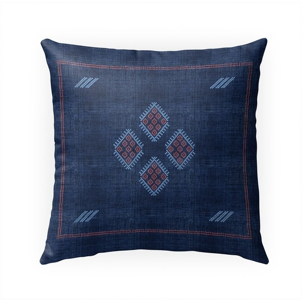 KILIM NAVY Indoor|Outdoor Pillow By Becky Bailey - 18X18