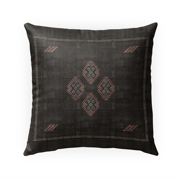 KILIM BLACK Indoor Outdoor Pillow By Becky Bailey - 18X18