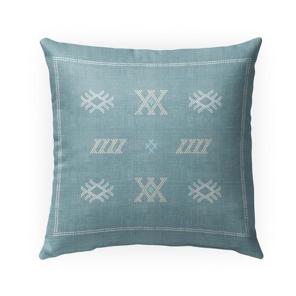 CASABLANCA KILIM AQUA Indoor Outdoor Pillow By Becky Bailey - 18X18