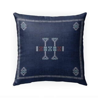 MOROCCAN KILIM NAVY Indoor|Outdoor Pillow By Becky Bailey - 18X18