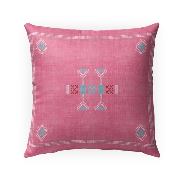 MOROCCAN KILIM PINK Indoor|Outdoor Pillow By Becky Bailey - 18X18