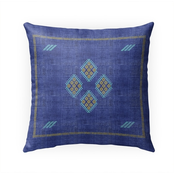 KILIM BRIGHT INDIGO Indoor|Outdoor Pillow By Becky Bailey - 18X18