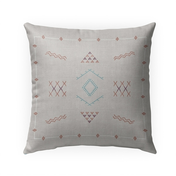 MARRAKESH KILIM LIGHT GREY Indoor|Outdoor Pillow By Becky Bailey - 18X18