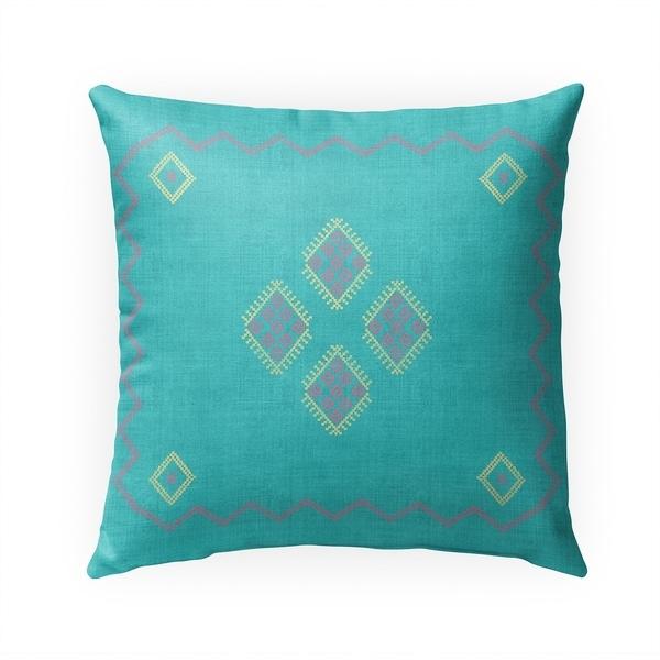 KILIM AQUA Indoor|Outdoor Pillow By Becky Bailey - 18X18
