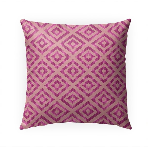 STAIRSTEP DIAMOND PINK Indoor Outdoor Pillow By Becky Bailey - 18X18