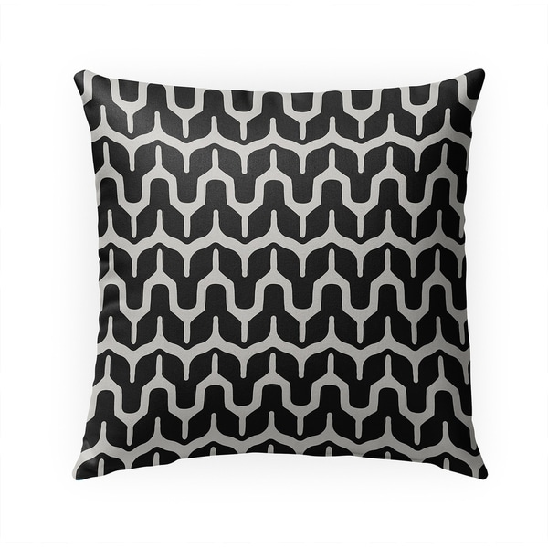 MARIA BLACK AND BEIGE Indoor|Outdoor Pillow By Becky Bailey - 18X18
