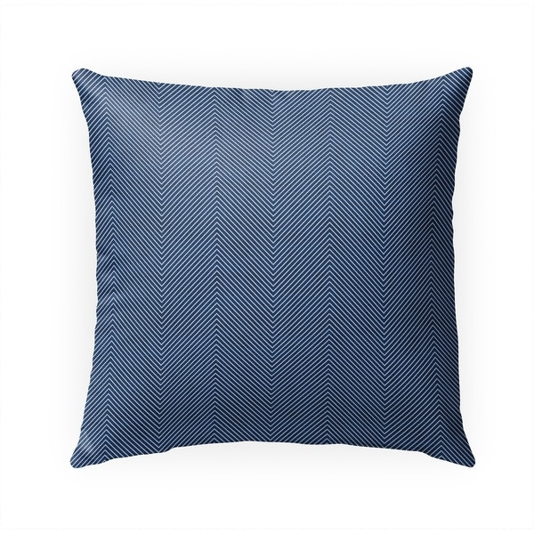 STITCHED ZIG ZAG TRIBAL INDIGO Indoor|Outdoor Pillow By Becky Bailey - 18X18